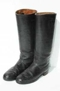 German WWII Officers Black Leather Jackboots